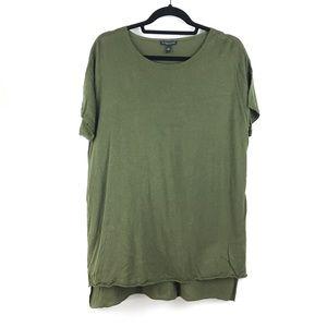 Eileen Fisher Woman Sz 1X Silk Linen Tunic Green